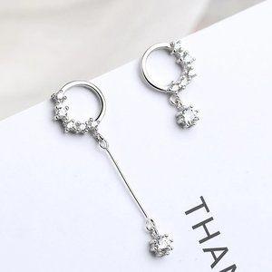 NEW 925 Sterling Silver Diamond Circle Earrings